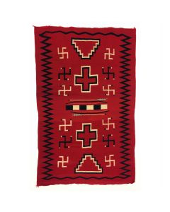 "Navajo Germantown Blanket with Whirling Log and Bow and Arrow Designs c. 1890s, 80.5"" x 50"" (T91660-1219-003)"