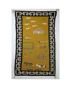 """Lillie Bahe - Navajo Pictorial Rug with Farm Scene c. 1970-80s, 40"""" x 24"""" (T91810-079-001)"""