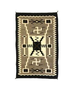 "Mexican Rug with Navajo Storm Pattern, Waterbugs, and Whirling Logs Design c. 1950s, 84"" x 53.5"""