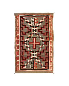 """Navajo Ganado Transitional Blanket with Spider Woman Crosses c. 1890-1900s, 96.5"""" x 62"""" (T92025A-0821-003)"""