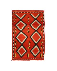 """Navajo Transitional Blanket with Crosses c. 1890s, 75"""" x 52.5"""" (T92025A-0821-004)"""