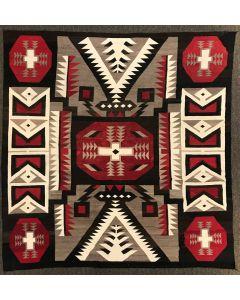 "Monumental Navajo Crystal Storm Pattern c. 1925-30s, 123"" x 113"""