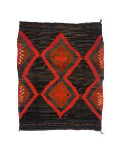 "Navajo Moki Blanket with Mahogany Dye and Spiderwoman Crosses c. 1915, 64.5"" x 53"" (T92245-0821-001)"