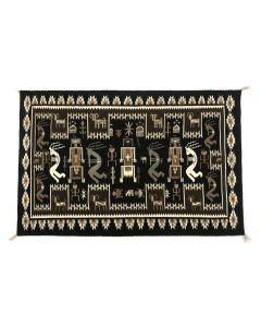 "Lovita Etcitty - Navajo Contemporary Rug with Kokopelli Pictorials, 41.75"" x 62"" (T92308-1120-002)"