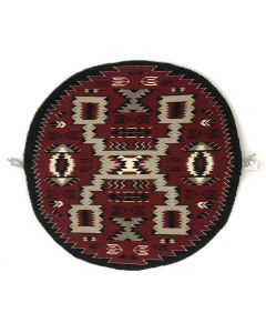 "Mary H. Yazzie - Navajo Contemporary Crystal Storm Pattern Round Rug, 36"" x 37.5"" (T92308-1120-003)"