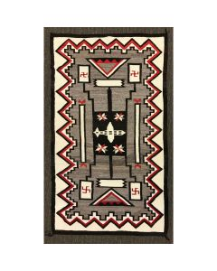 "Navajo Crystal Storm Pattern Rug with Airplane, Valero Stars, Whirling Logs Pictorials c. 1930s, 108.25"" x 62"" (T92337A-1219-003)"