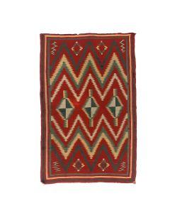 "Navajo Wearing Blanket with Home Spun Yarn and Raveled Bayeta c. 1875-1880, 52.25"" x 33.5"" (T92348A-0621-026)"