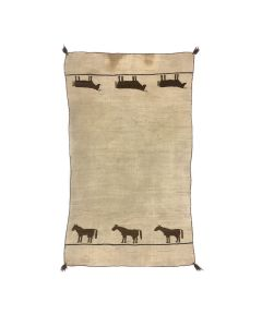 """Navajo Saddle Blanket with Horse Pictorial c. 1880-1890s, 57"""" x 32"""" (T92348A-0621-027)"""