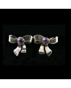 Mexican Amethyst and Silver Screwback Bow Earrings
