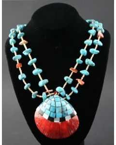 "Ava Marie Coriz ""Cool-Ca-Ya"" (1948-2011) - Santo Domingo (Kewa) Heishi and Turquoise Necklace with Inlaid Shell, 32"" (J90106-027-017)"