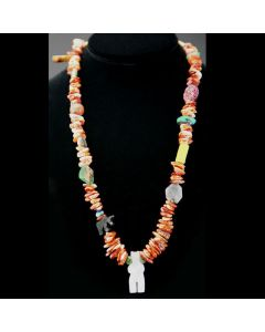 "Ava Marie Coriz ""Cool-Ca-Ya"" (1948-2011) - Santo Domingo (Kewa) Fetish Necklace, 24"" (J90106-117-007)"