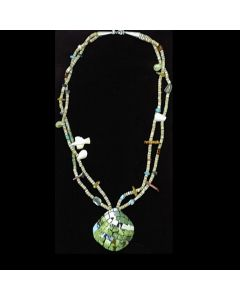 "Ava Marie Coriz ""Cool-Ca-Ya"" (1948-2011) - Santo Domingo (Kewa) Necklace with Shell Pendant, 2.5"" x 2.5"" (J90106-129-002)"