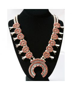 SOLD Zuni Coral Petit Point and Silver Squash Blossom Necklace by Valentino and Matilda Banteah