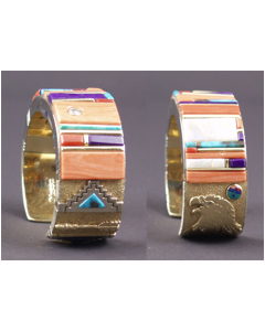 SOLD Jesse Monongya - Hopi Multi-Stone Inlay and Gold Bracelet - Tribute to Charles Loloma