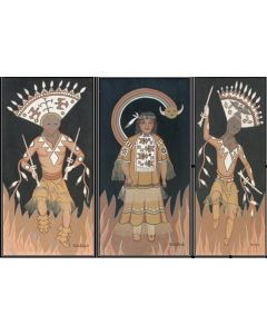SOLD Pablita Velarde (1918-2006) - Tryptych Apache Ghan and Madran Dancers