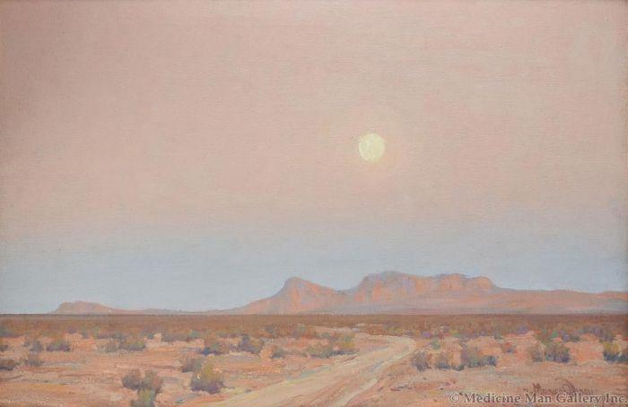 Maynard Dixon (1875-1946) - SOLD - Moonrise on Mojave