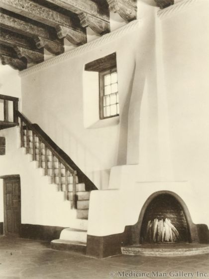 """Photograph by """"Bloom"""" - Museum of Fine Arts, Santa Fe, NM, St. Francis Auditorium III, 1950s (8x6) Ex Gerald Cassidy Estate"""