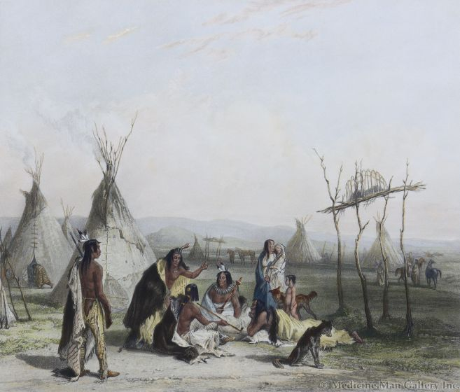 After Karl Bodmer (1809-1893) - Funeral Scaffold of a Sioux Chief (PDC92482-0220-043)