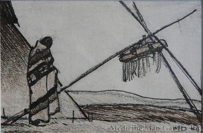 Maynard Dixon (1875-1946) - SOLD - Indian with Tee Pee and Medicine Bundle