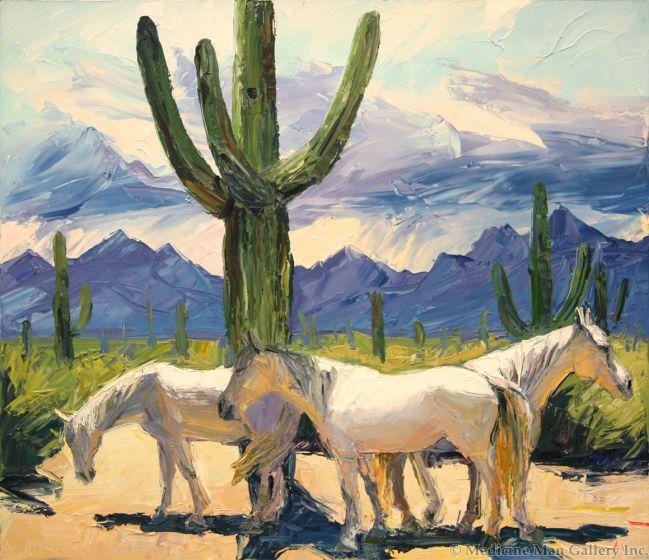SOLD Louisa McElwain (1953-2013) - Sombra de Saguaro, Medio Dia