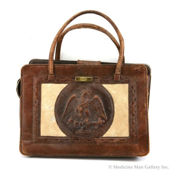 Vintage Leather Purse with Eagle Design