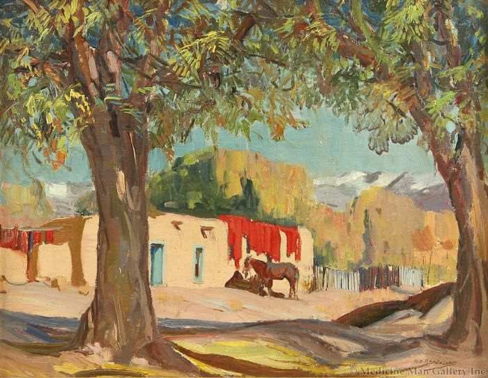 SOLD O. E. Berninghaus (1874-1952) - Drying Chili Peppers