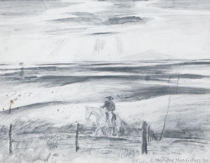 SOLD Peter Hurd (1904-1984) - Fence Rider