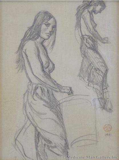 Maynard Dixon (1875-1946) - Study for Apache Plunder