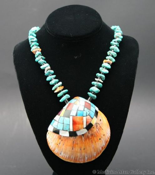 """Ava Marie Coriz """"Cool-Ca-Ya"""" (1948-2011) - Santo Domingo (Kewa) Turquoise and Jet Necklace with Inlaid Shell, Contemporary, 26"""" (J90106-027-018)"""