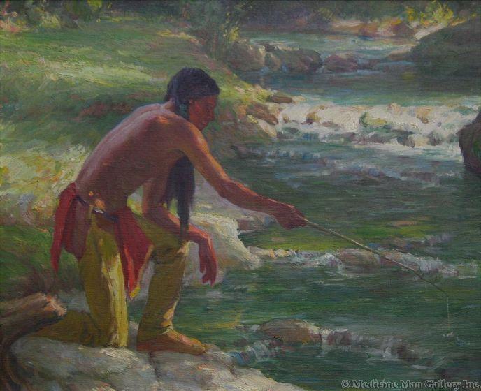 SOLD Joseph Henry Sharp (1859-1953) - Taos Fishing Trip