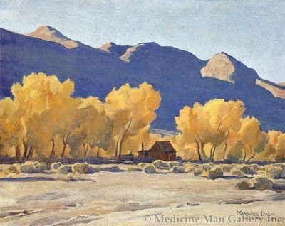 Maynard Dixon (1875-1946) - SOLD - Cabin Among Cottonwoods