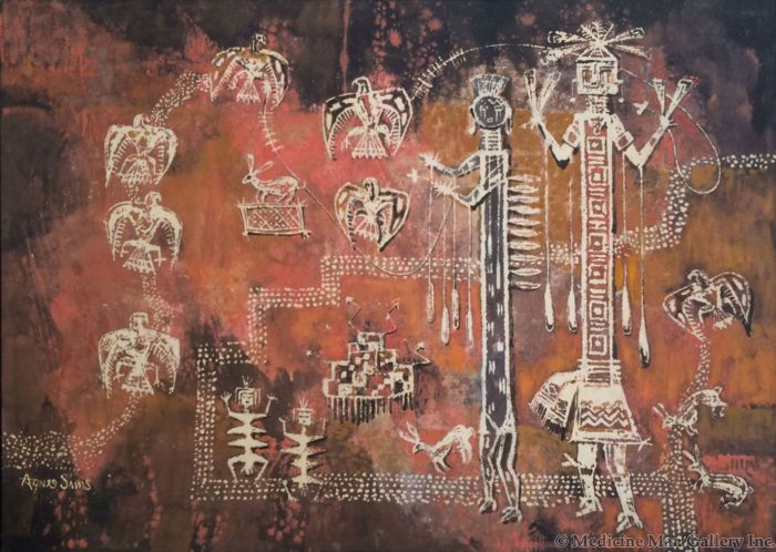 SOLD Agnes Sims (1910-1990) - Kachina Petroglyphs