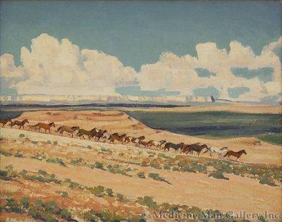 Maynard Dixon (1875-1946) - SOLD - Ponies Coming to Water