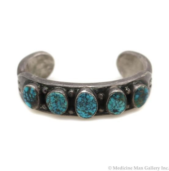 Mark Chee (1914-1981) - Navajo Lone Mountain Turquoise and Silver Bracelet c. 1950s, size 6.25 (J13472)
