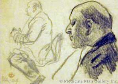 Maynard Dixon (1875-1946) - SOLD - Cafe Study of Bald Man