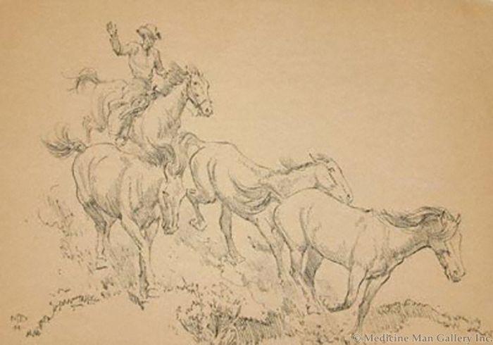 Maynard Dixon (1875-1946) - SOLD - Ponies on the Run