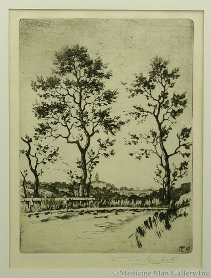 SOLD Frank Tolles Chamberlain (1873-1961) - Road and Towering Trees