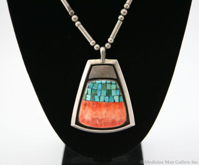 SOLD Frank Patania Jr. Thunderbird Shop - Spiny Oyster, Turquoise and Sterling Silver Pendant with Silver Beaded Chain
