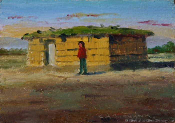 SOLD E. A. Burbank (1858-1949) - Pima Indian Home, Sacaton, Arizona