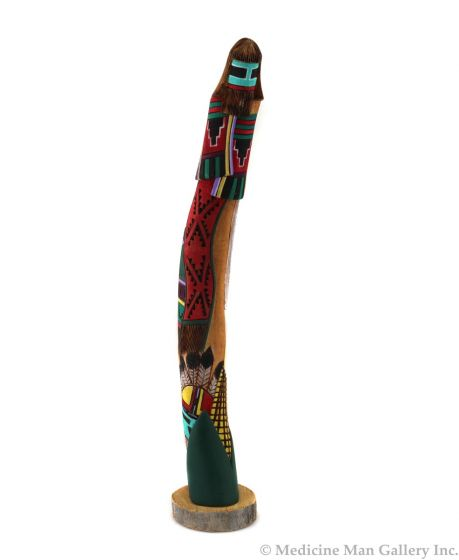 """Jerry Guy (Navajo) - Carving of a Hopi Long-Haired Kachina c. 1990-2000s, 18"""" x 3.25"""" x 5"""" (K1616)"""