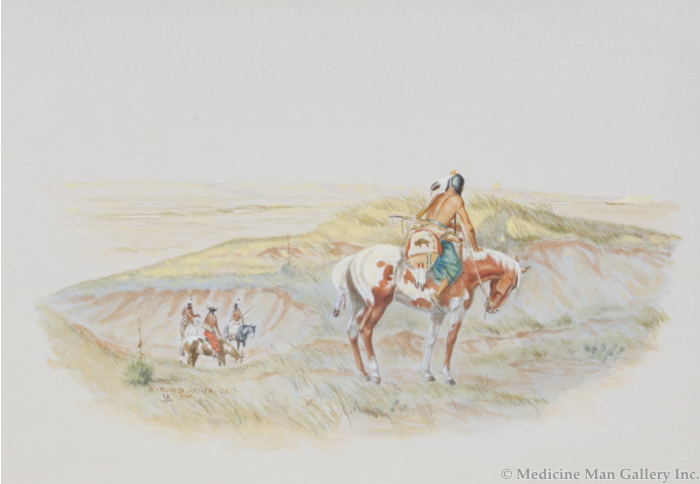 SOLD Byron Wolfe (1904-1973) - Comanche Watching Fremont's Men on the Canadian River 1845