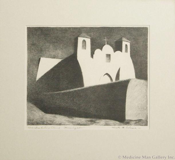 SOLD - Kenneth Adams (1897-1966) - Ranchos de Taos Church - Moonlight