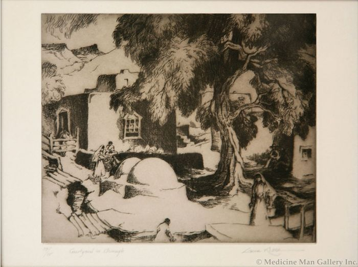 SOLD Gene Kloss (1903-1996) - Courtyard in Chimayo