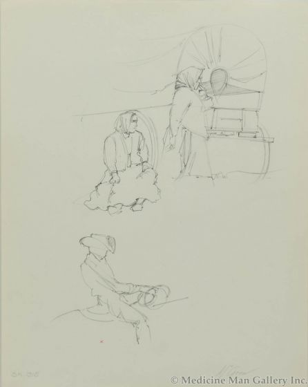 Ralph Brownell McGrew (1916-1994) - Number SK. 315, Native Figures with Wagon and Cowboy on Horse (PDC90536-1220-086)