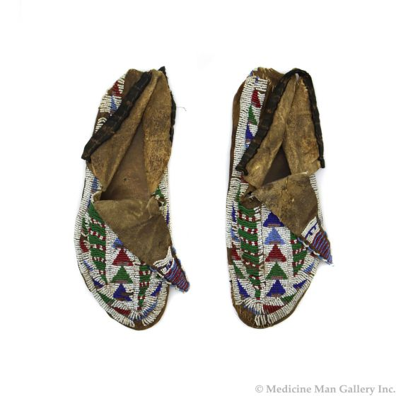 "Lakota Leather Beaded Moccasins c. 1900s, 2.5"" x 10"" x 4"" (DW1292)"