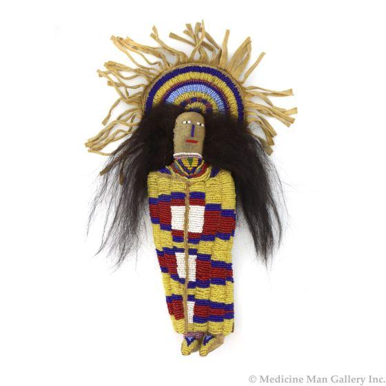 "Umatilla Beaded Leather Cradle Doll, 11.25"" x 5"" x 2"" (DW91243B-0721-008)"