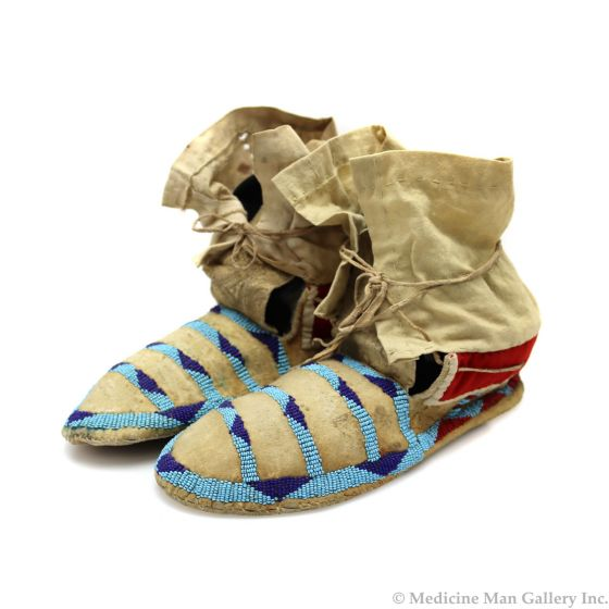 """Blackfoot Leather Beaded Moccasins c. 1880-90s, 7"""" x 10"""" x 4"""" (DW92323A-0421-012)"""