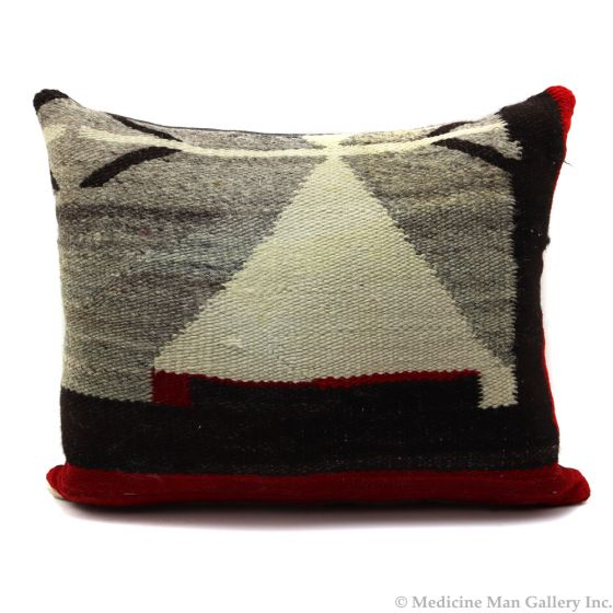 """Custom Leather Pillow with c. 1910s Navajo Crystal Textile Inlay, 15"""" x 19"""" x 6"""" (F1420B)"""