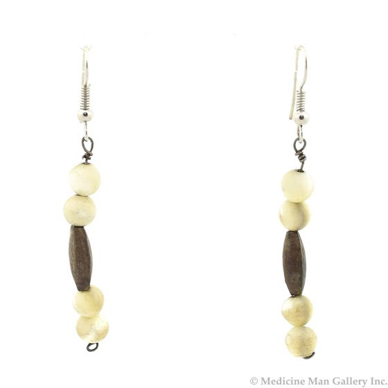 """Navajo Mother of Pearl and Silver French Hook Earrings c. 1950-60, 2.375"""""""