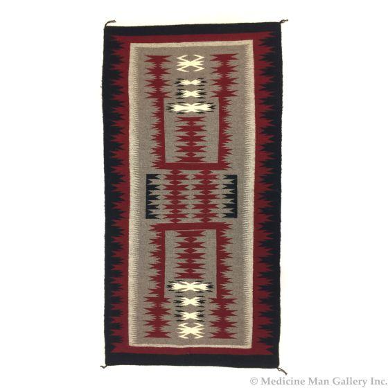 "Navajo Crystal Storm Pattern Rug c. 1980 61.5"" x 32"""